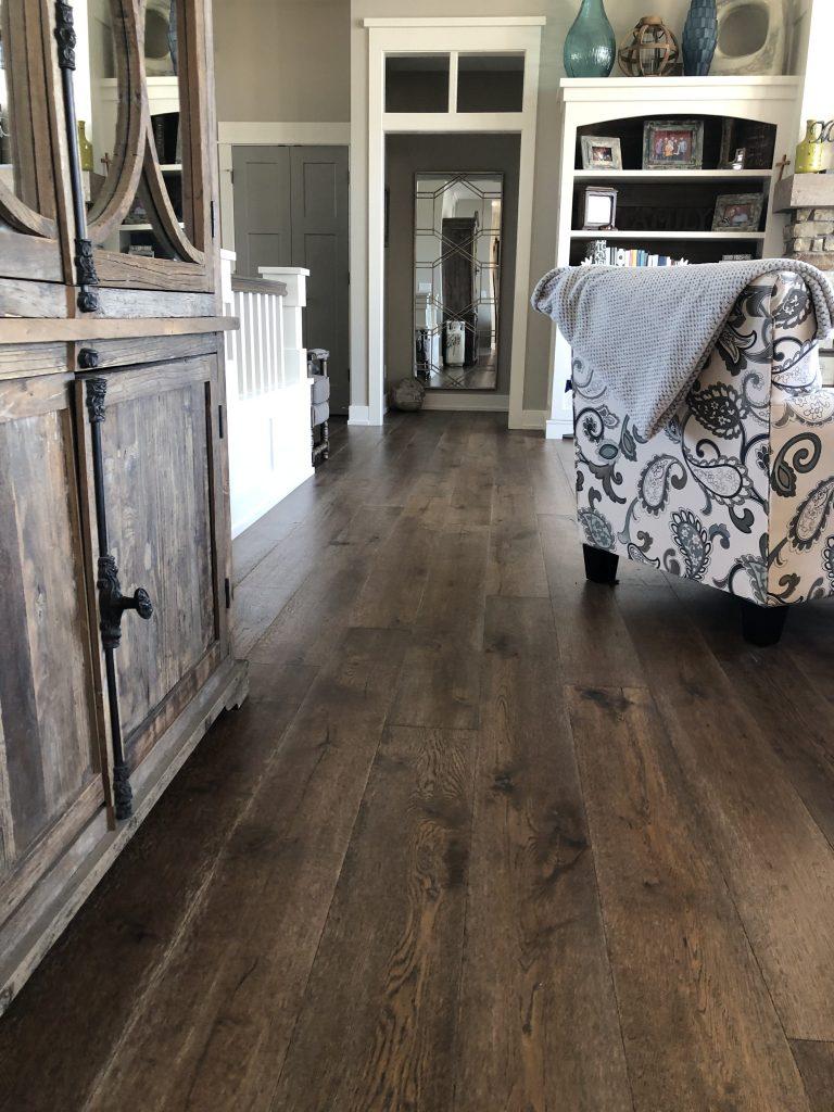 Dark Hardwood Living Room | Degraaf Interiors
